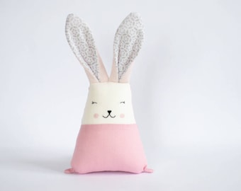 Stuffed animals, Millennial pink rabbit, linen bunny toy, gift for baby girl, bunny doll, personalized bunny plush, Easter gift for kids