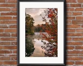 Foggy Lake Sunrise Fall Colors North Carolina Rural Scene 8x10 16x20 Landscape Photography Fine Art Print Canvas Print Wall Art Photograph