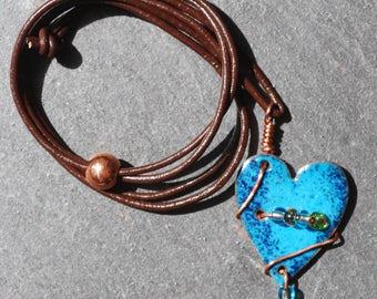 blue beaded heart pendant
