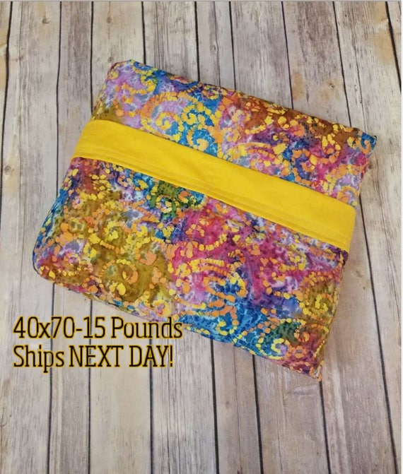 Weighted Blanket, 15 Pound, Mustard Batik, 40x70, READY TO SHIP, Twin Size, Adult Weighted Blanket, Next Business Day To Ship