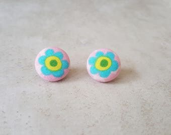 Blue Flower Stud Earrings - Child Size Stud Earrings - Flower Earrings - Flower Stud Earrings - Fabric Stud Earrings - Fabric Button Earring