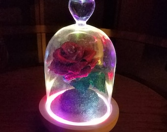 Handmade Crepe Paper Rose Under Glass Cloche/Colorful FlashLED Glass Cloche/Cake Topper Enchanted Metallic Rose