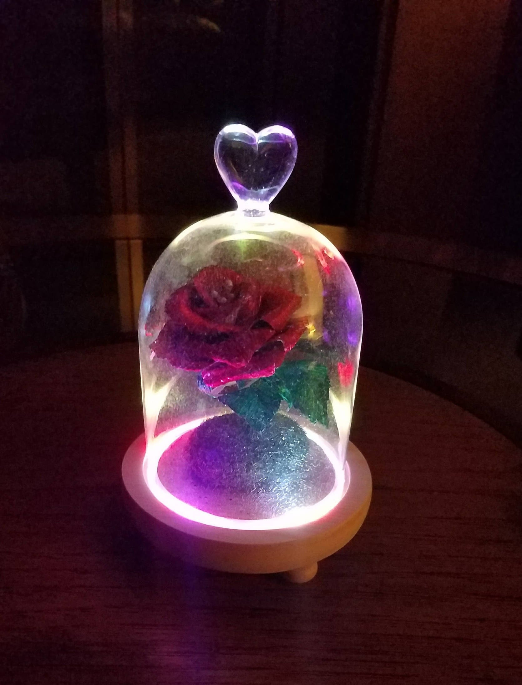 Handmade crepe paper rose under glass cloche colorful flashled for Rose under glass