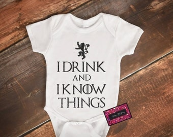 Glitter Baby Onesie - I Drink & I Know Things