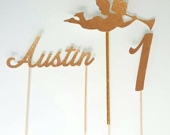 Cake decoration - first name + age + Angel in gold glitter paper