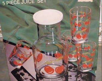 Vintage CHERRY RED 5 Piece JUICE Set New in Box Kitchen Set