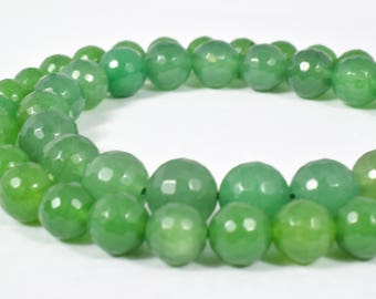Jade Gemstone Faceted Round Green Beads 8mm natural healing stone chakra stones for Jewelry Making# 372. Sold by Strand