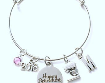 Retirement Gift for Pastry Chef, 2018 Line Cook Baker Women Mixer Charm Bracelet Jewelry Silver Bangle initial birthstone Present mother mom