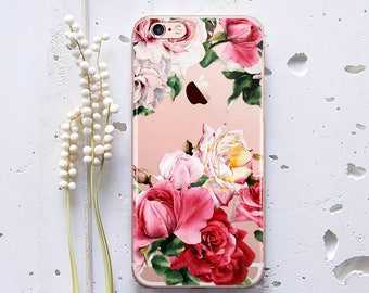 Case for Samsung Galaxy S7 Case iPhone 7 Case Clear Cases iPhone 6s Plus Case iPhone 7 Plus Cases Flowers Phone Case iPhone 8 Case WC1228