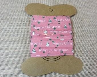5 meters, Pink Ribbon, Ribbon tree Christmas, Merry Christmas Ribbon, 10mm, cotton ribbons, Pink Ribbon, white and green tree