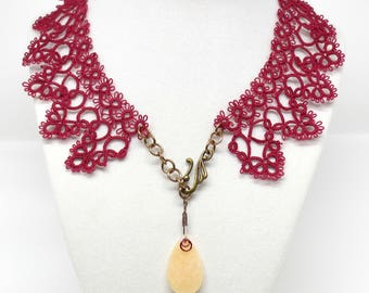 Victoriana: Red Tatted Lace and Quartz Collar Necklace