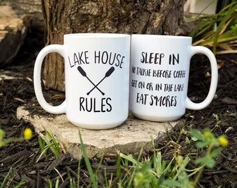 Lake House Rules Coffee Mug, Lake Life, Lakehouse Decor, New Lake House, Second Home, Vacation House, Coffee Mug for a Lake House