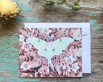 Luna Moth Forest Art Illustration Flat Note Card Stationery Thank You Card with White Envelope