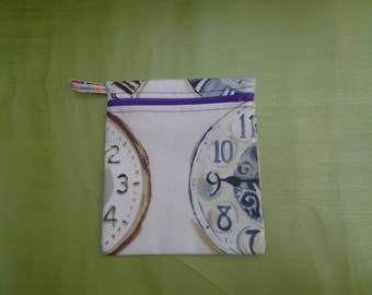 Wonderland Clock Medium Poppins Waterproof Lined Zip Pouch - Sandwich bag - Eco - Snack Bag - Bikini Bag - Lunch Bag - Tool Bag - Zero Waste