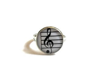 MUSIC RING - Sheet Music Jewelry - Musical Notes Ring - Treble clef Ring , Music Ring, Gift for Musician, Kids jewelry
