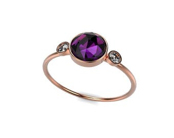 Rose Gold Rose Cut Amethyst Engagement Ring Rose Gold Amethyst Ring Amethyst Engagement Ring Amethyst Ring February Birthstone Ring