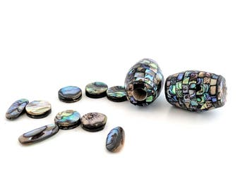 Paua Shell Beads / Abalone Beads / Shell Beads / Iridescent Bead / Abalone Shell Beads / Rainbow Beads / Rainbow Shell Beads / 11 Paua Beads