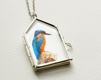watercolor bird necklace silver bird art pendant kingfisher necklace blue pendant watercolor pendant handmade necklace animal art necklace