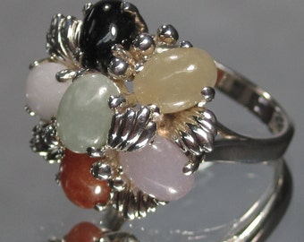 Vintage Sterling Silver Multi-Color 6 Stone Ring Sz 7.5 M9