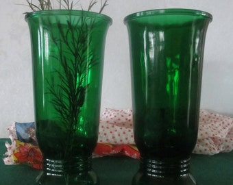 Green Glass Vases Tall NAPCO Pair vintage 1960's