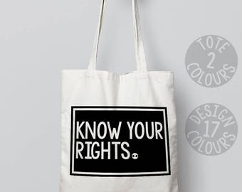 Know Your Rights canvas tote bag, eco friendly bag, personalized gift for teen girl, best friend, nasty woman, valentine's day, motivation