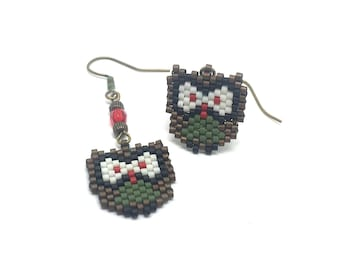 OWL - green, red, white, black and bronze - brick stitch bead weaving earrings