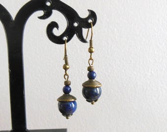 Short earrings with Lapis Lazuli - blue and bronze