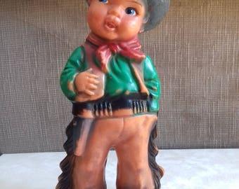 Vintage Cowboy Boy Rubber Toy/ Rubber Squeak Doll-70's Yugoslavia
