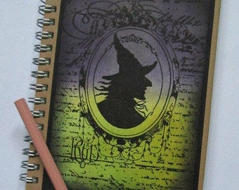 Hand made notebook Witch notebook, magic notebook C6 hard cover book Lined notebook  Pagan gift Halloween gift witch lover gift