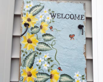 Hand Painted Sunflowers and Daisies Welcome Slate