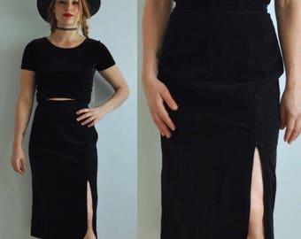 Vintage Velvet High Waisted Midi Skirt w/ Side Slit & Buttons // Black // Union Made in USA // XS 0 XXS 00