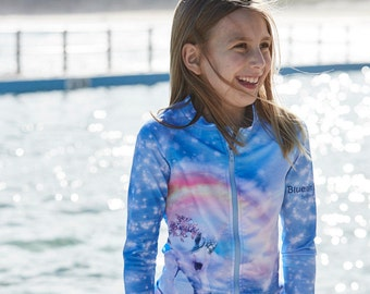 Girls Unicorn zip up rash top and sun protection swim top