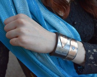 Industrial themed Steel and Copper Cuff Bracelet