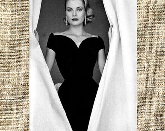 Grace Kelly photograph, vintage photo print, classic old Hollywood photograph, black and white print, boho wall decor