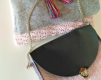 Handmade bag/Shoulder bag/Boho bag/Mini bag/Purse/Recycled single use plastic bag/Pink, white, and grey bag