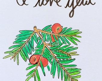 I love yew - card + envelope