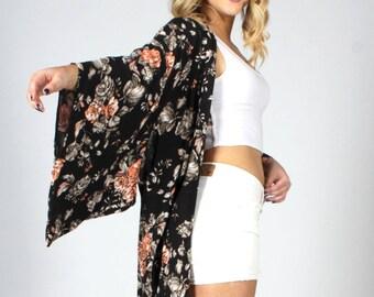 Black Floral Kimono Cardigan, Boho Kimono, Bohemian Kimono, Kimono Cardigan, Kimono Jacket, Music Festival Clothing, Swimsuit Cover up