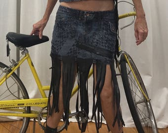 Denim Bike Mini Skirt By Maria B. Vintage Denim Mini & Bike Tube Trim. Size 3.