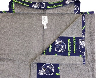 Seahawks Hooded Towel Gray Navy Lime Green
