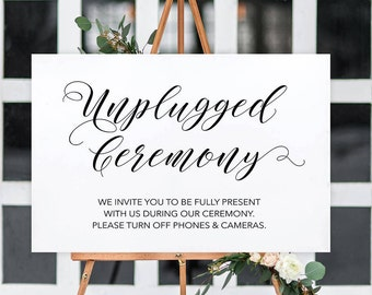 Unplugged Wedding Sign | INSTANT DOWNLOAD | Unplugged Ceremony | Black White Wedding | Digital PDF Download | Florence Collection