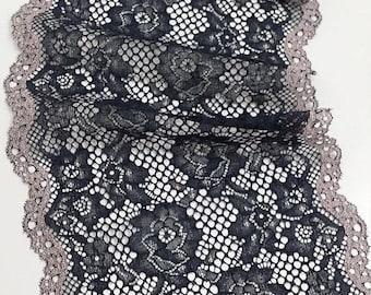 Black with beige stretch lace Trim, Elastic lace trim, Chantilly Lace, French Lace, Bridal lace, Scalloped Eyelash lace, Lingerie Lace