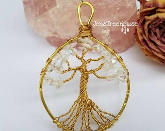 Clear Quartz Tree of Life Pendant Necklace