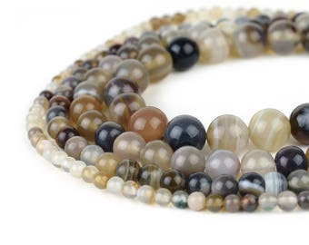 "Natural Botswana Agate Bead Strand, Full 15.5"" Strand Smooth Round Wholesale 4mm 6mm 8mm 10mm"