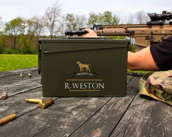Father's Day Gift | Personalized Ammo Box | Personalized Ammo Can | Groomsmen Gift Idea | Labrador Dog Ammo Can | .30 Caliber Ammunition Box
