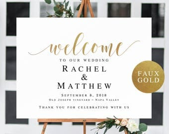 Gold welcome to our wedding sign Gold welcome wedding template Horizontal welcome sign wedding Editable wedding sign Gold welcome sign #vm32