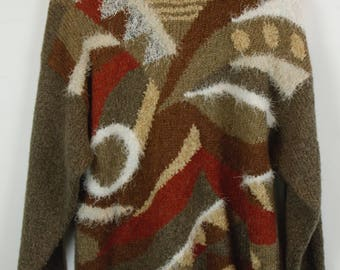 Vintage Sweater, Vintage Knit Pullover, 80s, 90s, brown, oversized look