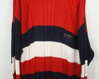 Vintage Sweater, Vintage Knit Pullover, 80s, 90s, red, blue and white, stripes, oversized look