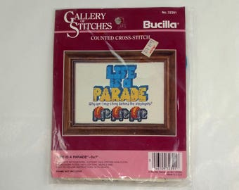Life is a Parade - Counted Cross Stitch Kit - 5x7 Elephant Cross Stitch - Bucilla 32391 - Gallery of Stitches - Vintage Cross Stitch - Rare