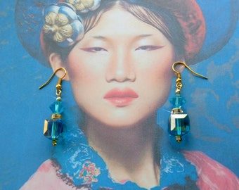 Blue Crystal cube earrings