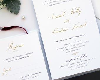 Harmony Black Ink Wedding Invitation Set, Elegant Wedding Stationery, Wedding Invitation Set Templates or Printed Invitation Kits